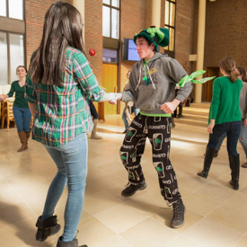Spotlight story image pertaining to students celebrating St. Patrick's Day